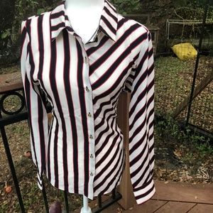 Tommy Hilfiger White Striped Blouse M NWT